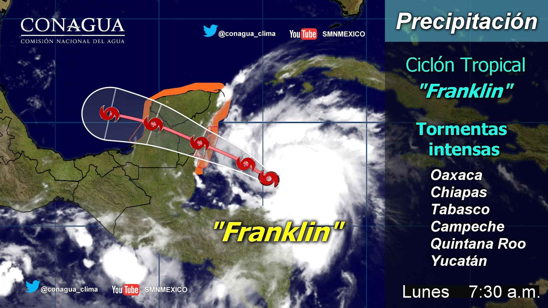 Nublados densos de Franklin cubren Península de Yucatán y sureste del país