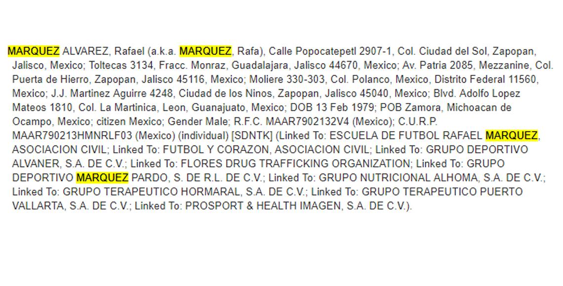 EEUU asocia a Rafael Márquez de nexos con el narcotráfico